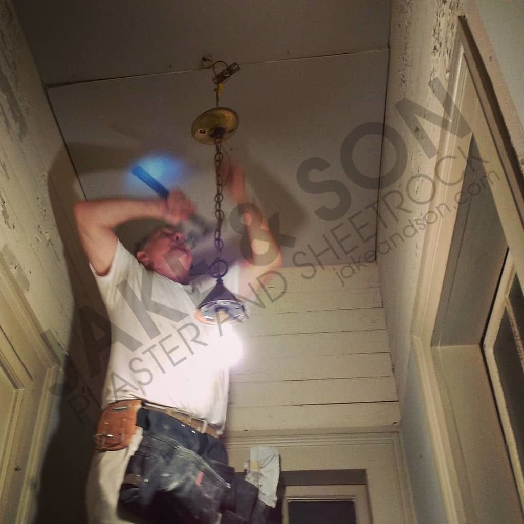 New drywall ceiling installation